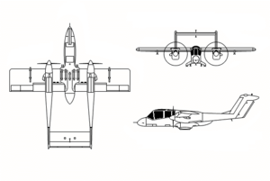 Orthographically projected diagram of the Rockwell OV-10 Bronco.