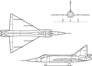 Orthographically projected diagram of the F-102A Delta Dagger.