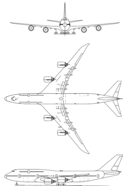Orthographically projected diagram of the Boeing 747-8 Intercontinental.